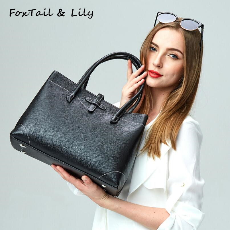 FoxTail & Lily Genuine Leather Shoulder Bag Women Brand Designer Real Leather Handbags Ladies Embossed Tote Bags High Quality