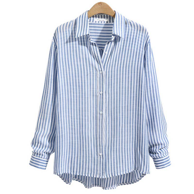 2018 autumn blue and white striped shirts women casual for Blue and white striped shirt with white collar
