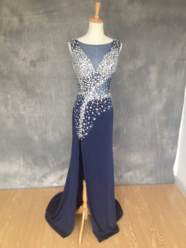 2015 vestido de formatura Navy Blue Sexy Split Beading   Prom     Dresses   Rhinestone Floor Length Evening Party Gown