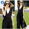 PIKB 2016 fashion chiffon Jumpsuits summer new loose size casual long style V-collar sleeveless  trousers  wide leg  cool wind