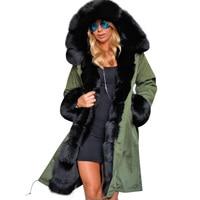 Winter Coat Women Large Faux Raccoon Fur Collar Hooded Long Jacket Womens Detachable Faux Fur Lining Winter Fur Parka Outwear F3
