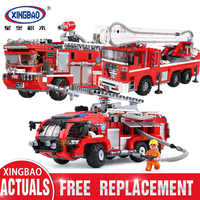 Technic Xingbao 03028 03029 03030 City Fire Truck The Rescue Vehicle Sets Building Ladder Building Blocks Toys for Children