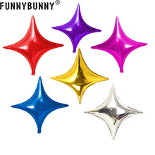 FUNNYBUNNY Star Ballon Decoration Balloon Four Pointed Shape Party Balloons Aluminum Foil