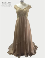 2016 New Arrival Beaded V Neck Champagne Chiffon Mother Of The Bride Dresses Formal Party Gowns
