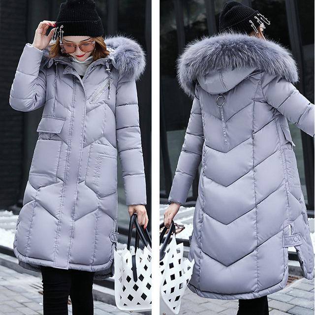 Warm Fur Hooded Coat Winter Jacket Woman 2017 New Arrival Fashion Solid Color Zipper Down Cotton Parka Slim Outwear Plus Size