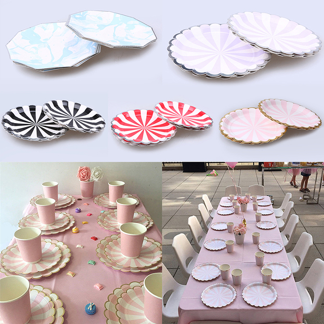 8pcs Disposable Tableware dessert paper plates cake food plates buffet plates party supplies or table decoration  sc 1 st  AliExpress.com : wedding cake paper plates - pezcame.com