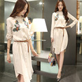 2016 Spring Original Big Cotton Dress Code Embroidered Long Sleeved Linen Slim Women
