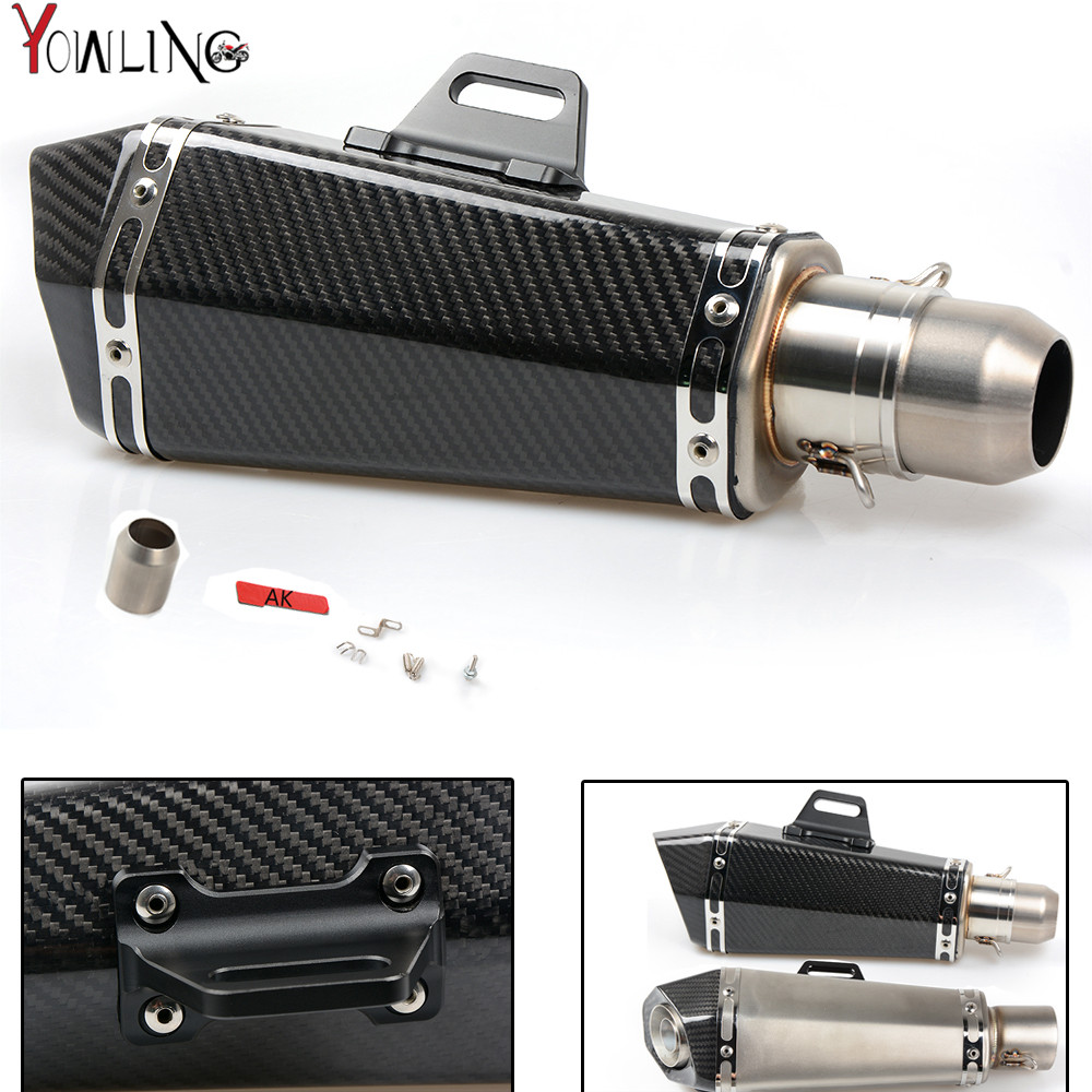 Motorcycle Real carbon fiber exhaust Exhaust Muffler pipe For Yamaha FJR1300 BWs 125 FZ07 09 FZ1 FZ8 FZ6R MT09 MT07 ktm free shipping carbon fiber id 61mm motorcycle exhaust pipe with laser marking exhaust for large displacement motorcycle muffler