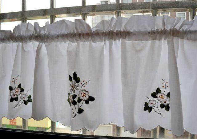Kwaliteit borduurwerk geborduurde venster gordijnen keuken
