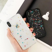 Drops of glue phone case for iPhone 7 plus soft tpu Colour the stars cover coque X 10 XR Xs MAX 8 6s