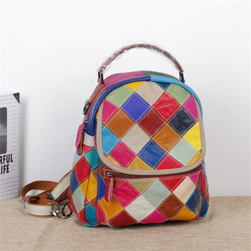 2018 Mini women backpack High quality Genuine leather Fashion Contrast color grid  backpack small backpack Leisure female bag2018 Mini women backpack High quality Genuine leather Fashion Contrast color grid  backpack small backpack Leisure female bag