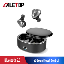 CALETOP T50 TWS Bluetooth Earphone 5.0 Mini Wireless Earbuds Touch Control Sport Ear Stereo Cordless Headset with Charging box t50 tws bluetooth headset sports touch wireless earphone 3d stereo microphone wireless earbuds charging box