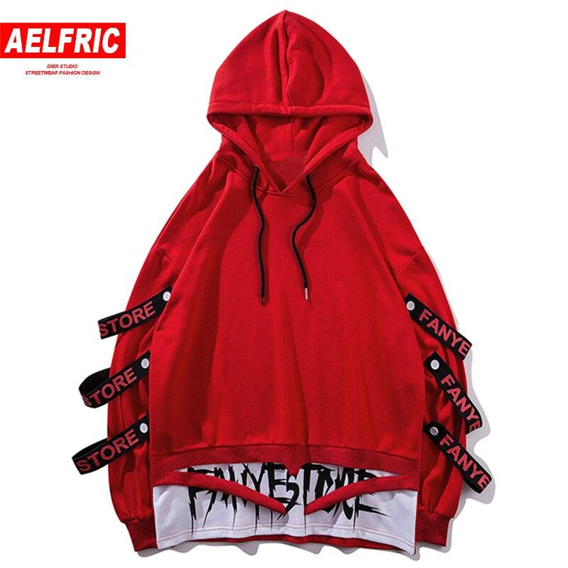 AELFRIC Harajuku sweats capuches homme côté rubans déchiré ourlet mode pull à capuche Streetwear sweat gothique tissu RK18