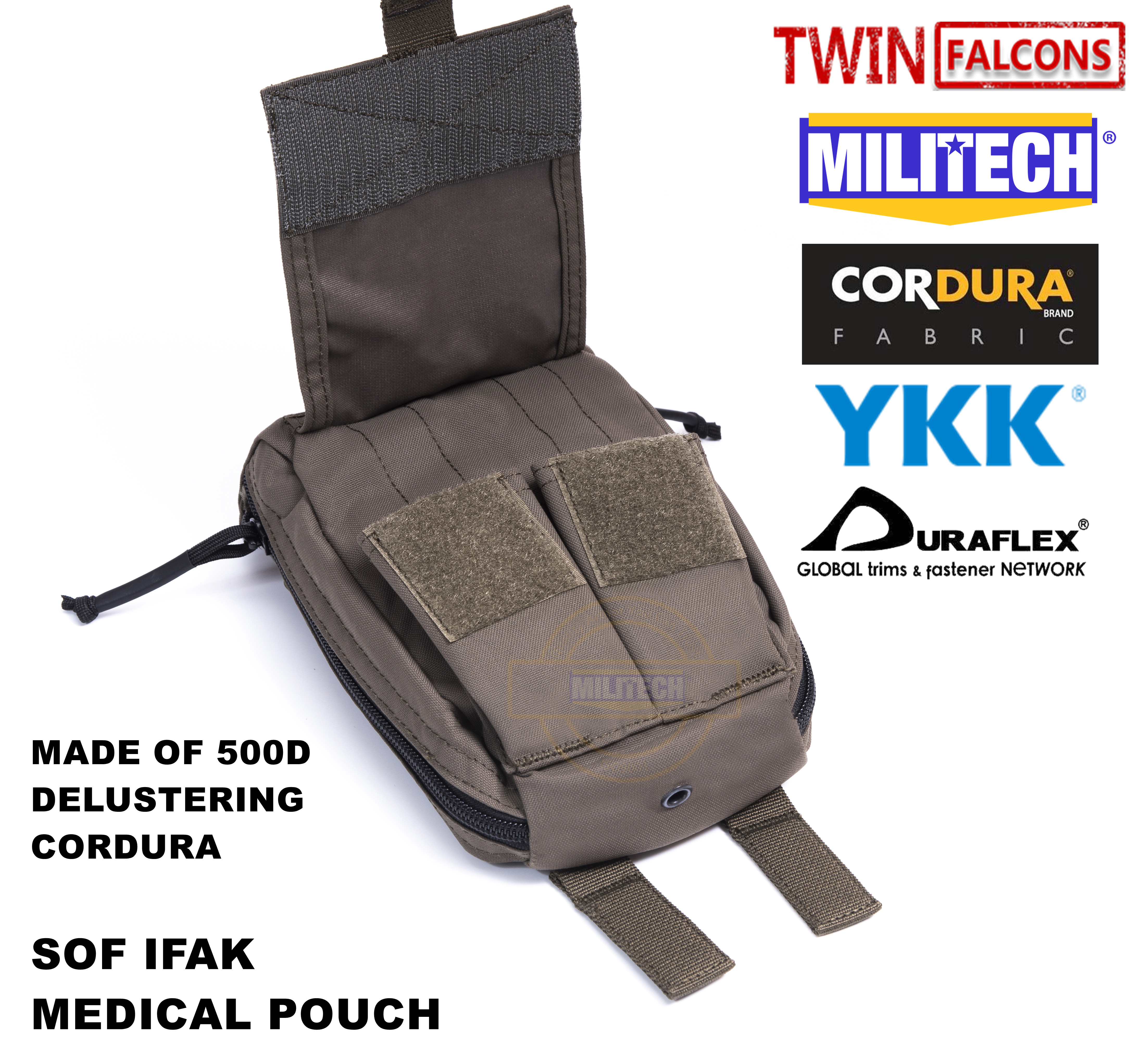 MILITECH TWINFALCONS TW Delustered TYR MOLLE Trauma Medical First Aid Kit Pouch EMT Pouch CORDURA Modular SOF IFAK Medical Pouch