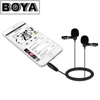 BOYA BY LM400 Dual Omnidirectional Condenser Lavalier Microphone For IOS IPhone Android Smartphone Video Record Interview
