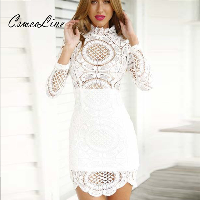 Black White Lace Crochet Patterns Hollow Out Dresses Turtleneck Long