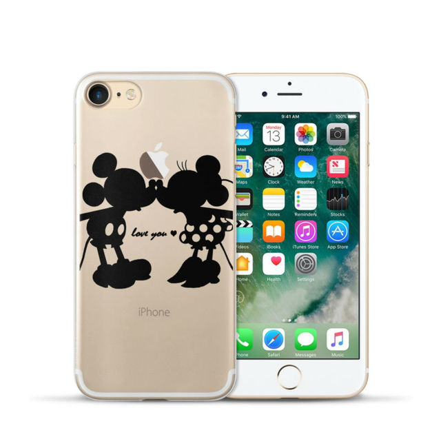 Cute Cat Mickey & Minnie Mouse Kiss For iphone 7 Case 4.7″ Case for iPhone 7 Plus 7plus Case 5.5″