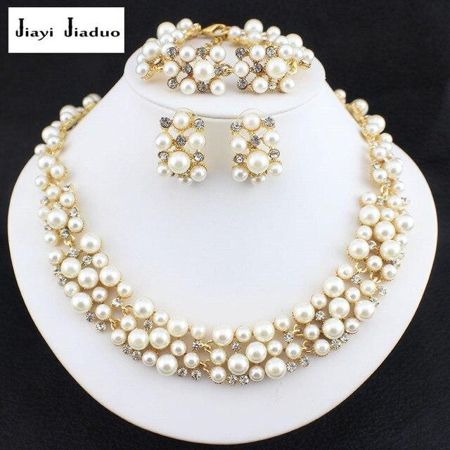 jiayijiaduo jewelry set of Imitation Pearl Dubai Gold-color African Beads Costume Bridal wedding Sets Pretty girl accessories
