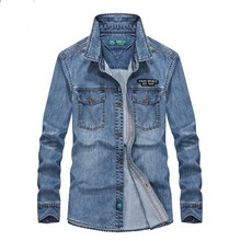 купить Mens Shirts Casual Long Sleeve Denim Cotton Shirt 2 Pocket Embroidery Male Clothes  Jeans Shirts Loose Baggy Plus Size S-4XL дешево