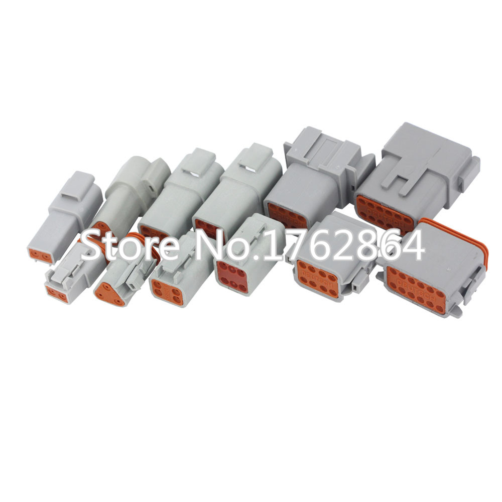6 Sets/Lot 6 Models DT06/DT04 2/3/4/6/8/12 Pin Engine/Gearbox Waterproof Electrical Connector For Car,Bus,Motor,Truck 22-16AWG 2 sets lot