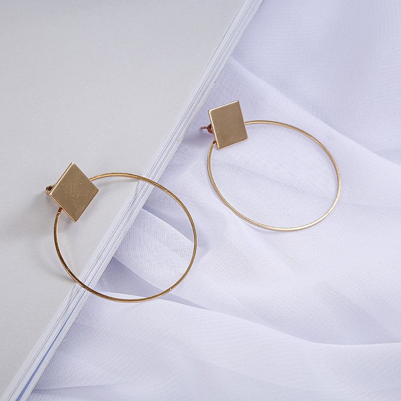 Simple Style Fashion Silver Gold Color Earrings for Women Square Round Geometric Hanging Earrings 18 Female Pendientes Jewelry 16