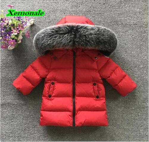 2017 High Quality Fur Hooded Boys Down Coats Winter Jackets For Kids Tops Clothes Children Outerwear Clothing Children Down Coat high quality children down coats 2017