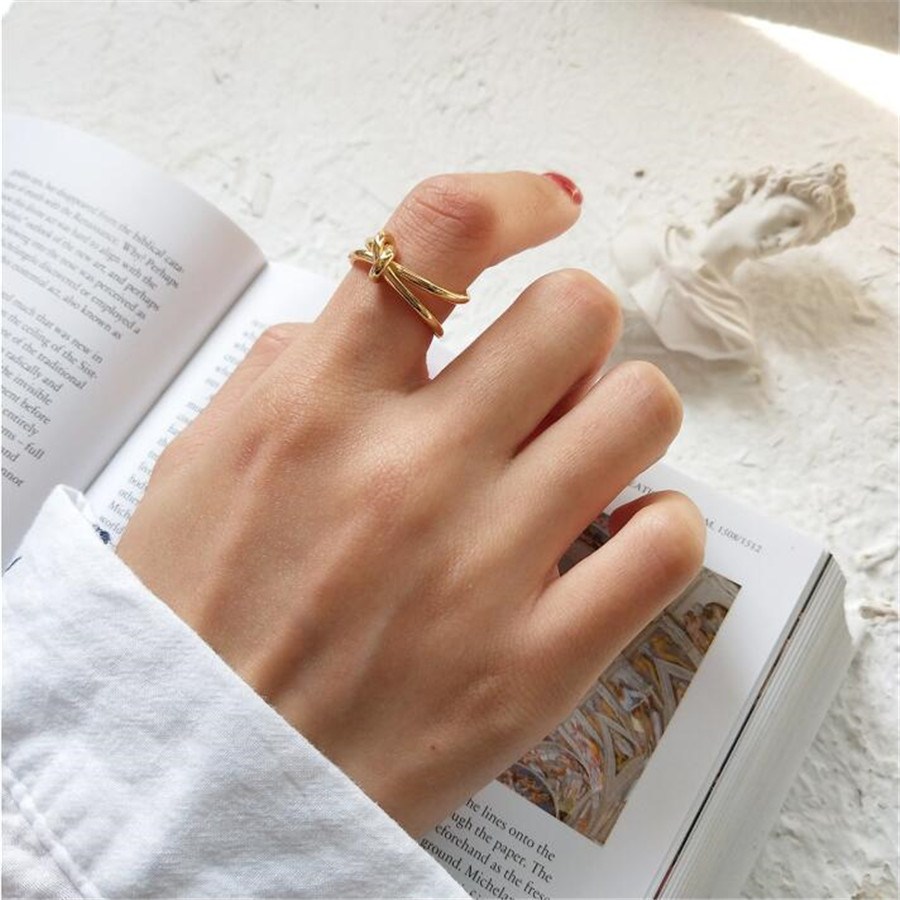 YIKUF88 Knotted opening 925 sterling silver ring for women golden index ring ring Korean simple hand jewelryYIKUF88 Knotted opening 925 sterling silver ring for women golden index ring ring Korean simple hand jewelry