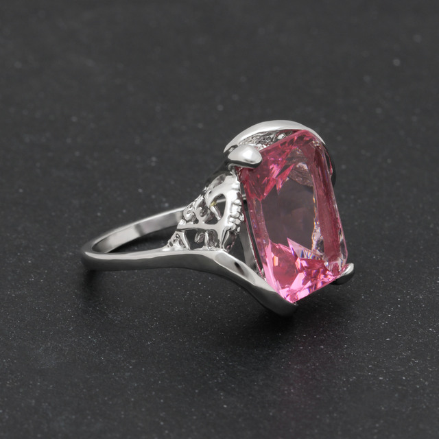 Fashion jewelry silver plated rings for women wedding 2017 factory wholesale vintage jewelry girl new Rose Red engagement Rings
