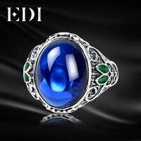 EDI Kadınlar Vintage Mavi Korindon Yeşim 925 Sterlini Tay Gümüş Ayarlanabilir Yüzük Emaye Işi Takı Telkari Yuvarlak Takı Içinde