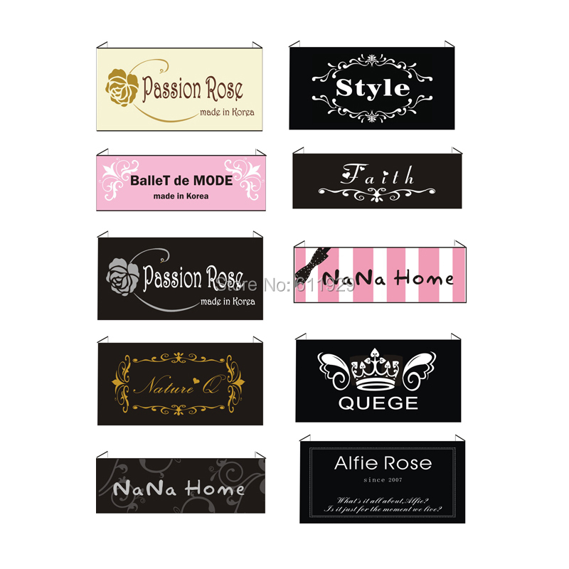 Free Shipping Customized garment labels woven labels clothing embroidered tags LOGO with cut and fold custom