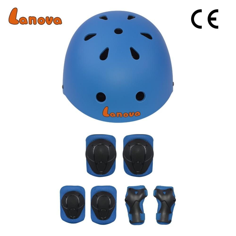 LANOVA Protector 7Pcs / set Velosiped Skateboard Kask Dirsək Diz Bilək Yastıqları Uşaqlar Velosiped Velosiped Roller Qoruma Ötürücü