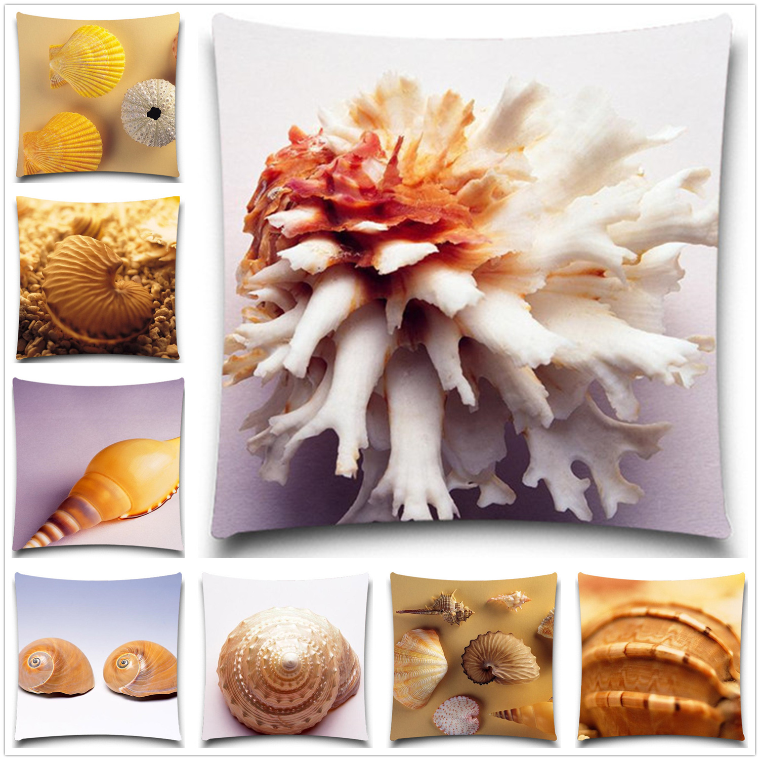 Marine organism cushion cover Shell for children Decorative for Sofa Throw Pillow case Car Chair Home Decor Pillow Cover 5 size