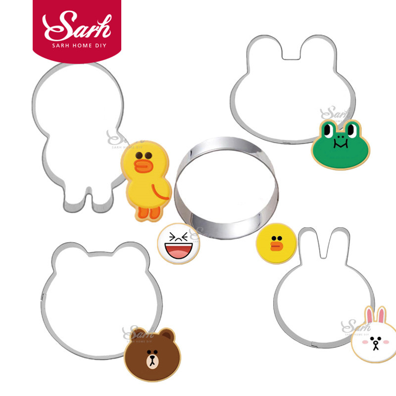 5pcs/lot Metal Stainless Cookie Cutters Frog Bear Rabbit ands