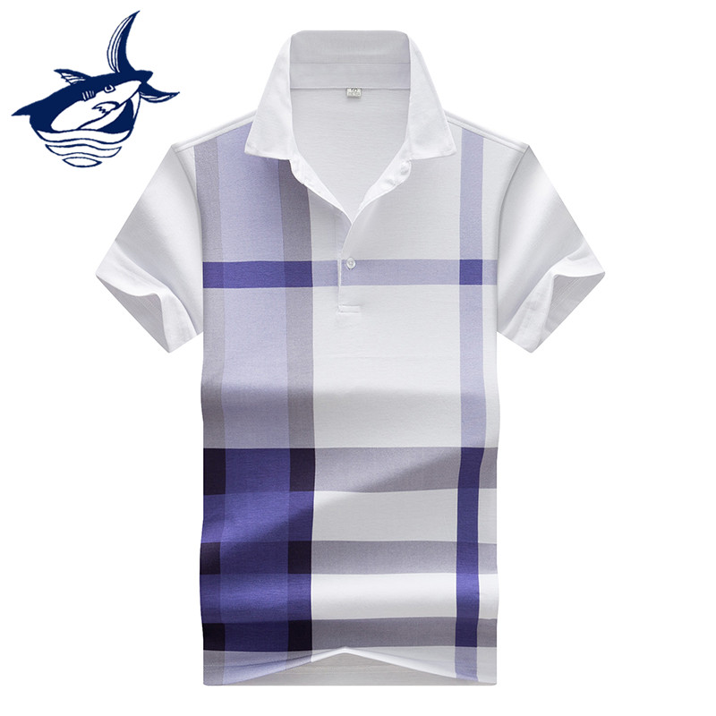 2018 Summer Plaid   Polo   Shirt Men Fashion Golftennis Royal Brand Tace & Shark   Polo   Shirt Casual Men's Short-Sleeved Lapel   Polos