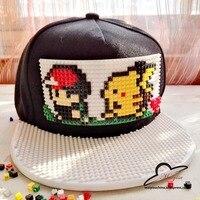 Pokemon Go Brick Pikachu Snap Back Baseball Cap Hip Hop Hat Snapback Hat For Men Women
