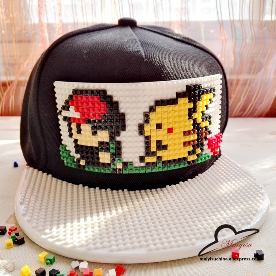 Pokemon Go Brick Pikachu Snap Back Baseball Cap Hip Hop Hat Snapback Hat For Men Women Cap Detachable blocks building anime pokemon go pikachu charmander cosplay baseball caps adults men and women cute hip hop hat swag snapback cap cooo coll