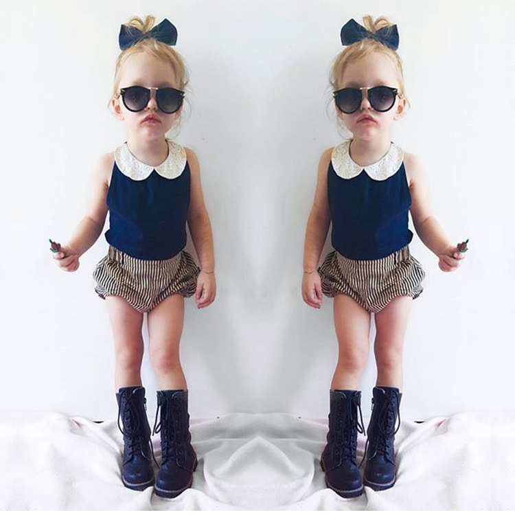 EMS DHL Free ins New Baby Girls 2pc Suit Chiffon Tops Lace Collar Strip Infants Pants Children clothes girls Outfit Summer Style unipro u 500
