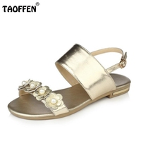 TAOFFEN Women Shoes Women Sandals Flat Flowers Buckle Trend Fashion Summer Shoes White Gold Balck Casual
