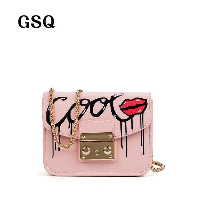 GSQ High Quality Leather Women Messenger Bag Famous Brand Luxury Leather Bags Hot Fashion Sequined Hasp Style Sexy Lip Women Bag