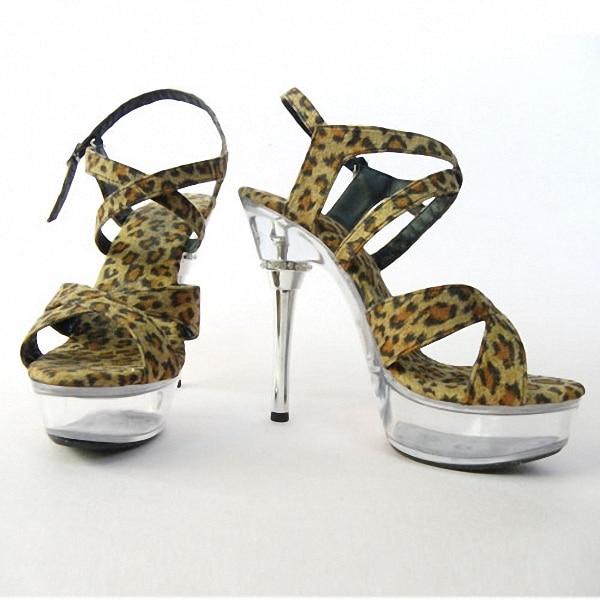 Sexy Leopard Print 14cm Temptation Sandals Ultra High Thin Heels Platform 5 Inch Crystal Shoes Sexy Club Shoes цены онлайн