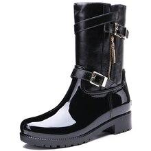 TONGPU Women's Renata Short Boots Zipper & Buckle Waterproof Mid-Calf Black Rain Boots for Women 20-278