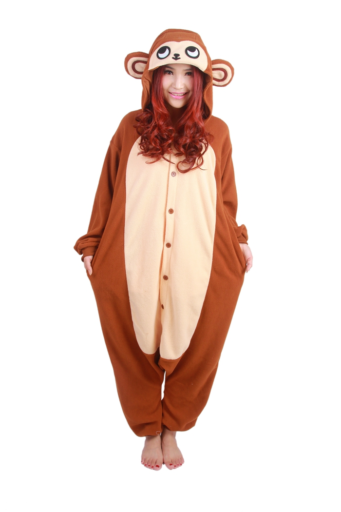 Unisex Fleece Adult Monkey Onesies Animal Cosplay Costume Halloween Xmas Pajama
