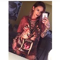 T Shirt Dress 2016 Women Tiger Leopard Print Hallowen Dress Casual Loose Harajuku Hip Hop Street Lace Up Party Club Shirt Dress