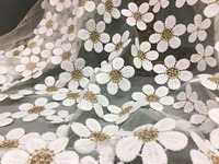 New Plum Blossom Gold Wire Milk Silk Material Embroidery Lace Clothing Fabric Fashion Upscale Women S