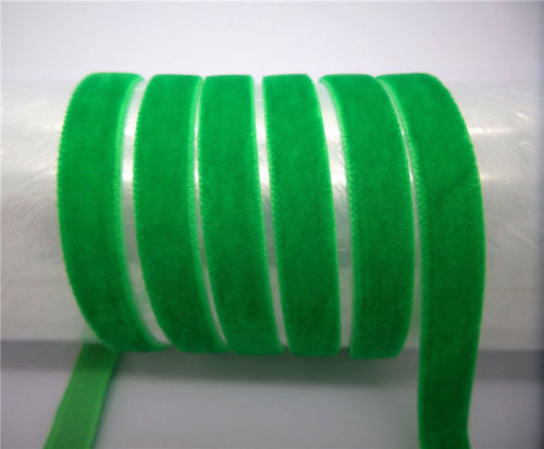 "DIY 5 ярдов 3/"" 10 мм мягкая удобная бархатная лента много цветов на выбор - Цвет: Green"