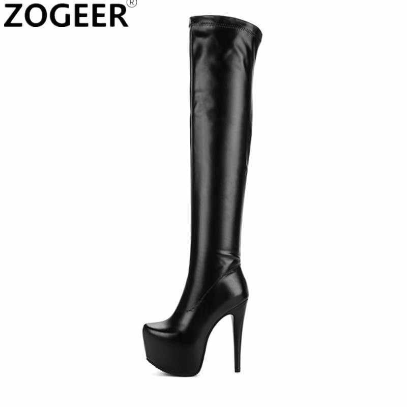 a401fa83c78 Plus size 48 Women Over Knee Boots Sexy Fetish Dance Nightclub Party ...