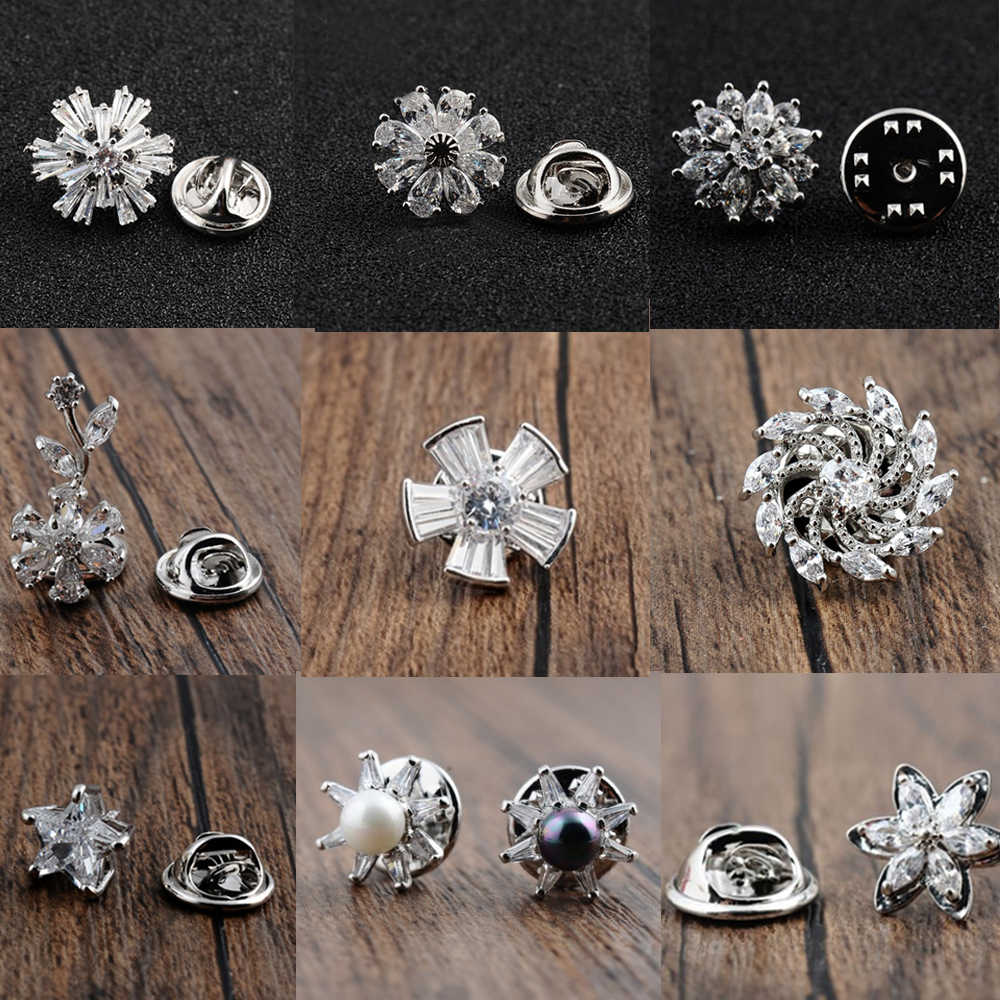 1 Pcs Trendy Squisito Cute Little Flower Star Zircone Spille Uomini Del Panno Delle Donne di Cardigan Collare Bouquet Vestito Collare Spille