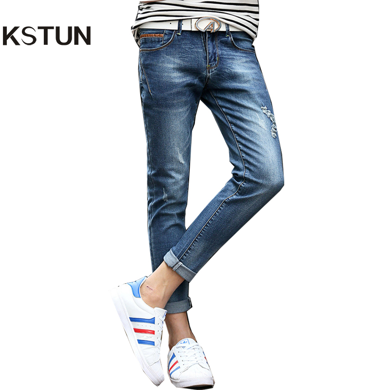 KSTUN Jeans For Men Summer Ankle Stretch Slim Fit Skinny Leather Pockets Design Blue Ripped Male Denim Biker Jeans Casual Homme men s cowboy jeans fashion blue jeans pant men plus sizes regular slim fit denim jean pants male high quality brand jeans