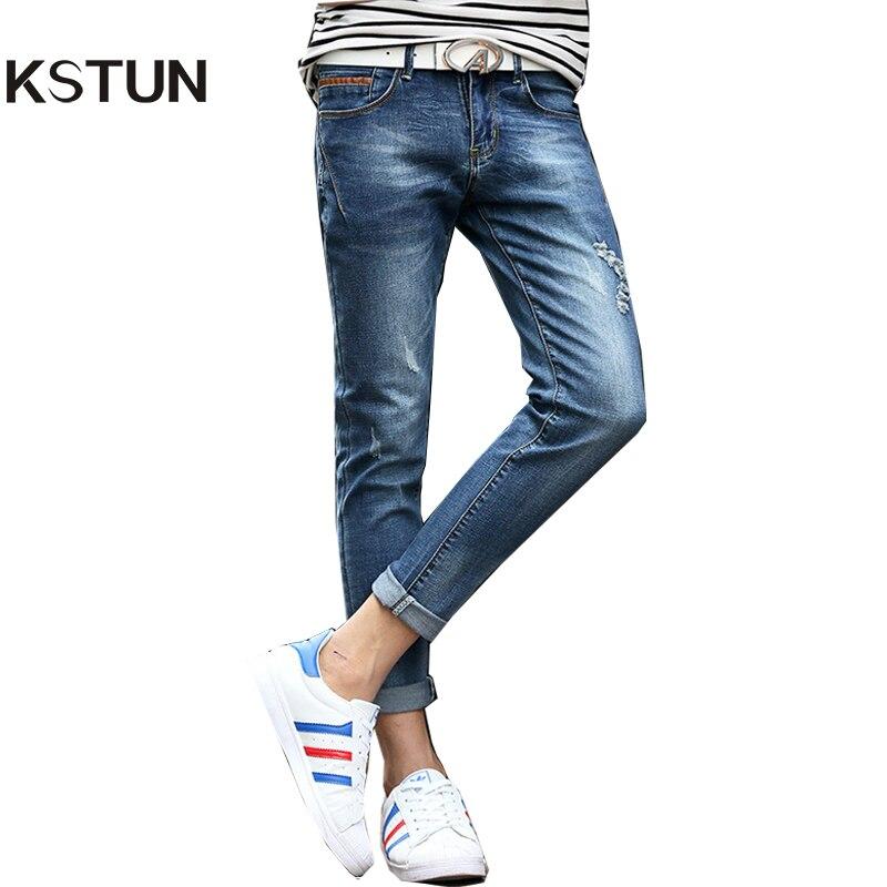 KSTUN Jeans For Men Summer Ankle Stretch Slim Fit Skinny Leather Pockets Design Blue Ripped Male Denim Biker Jeans Casual Homme