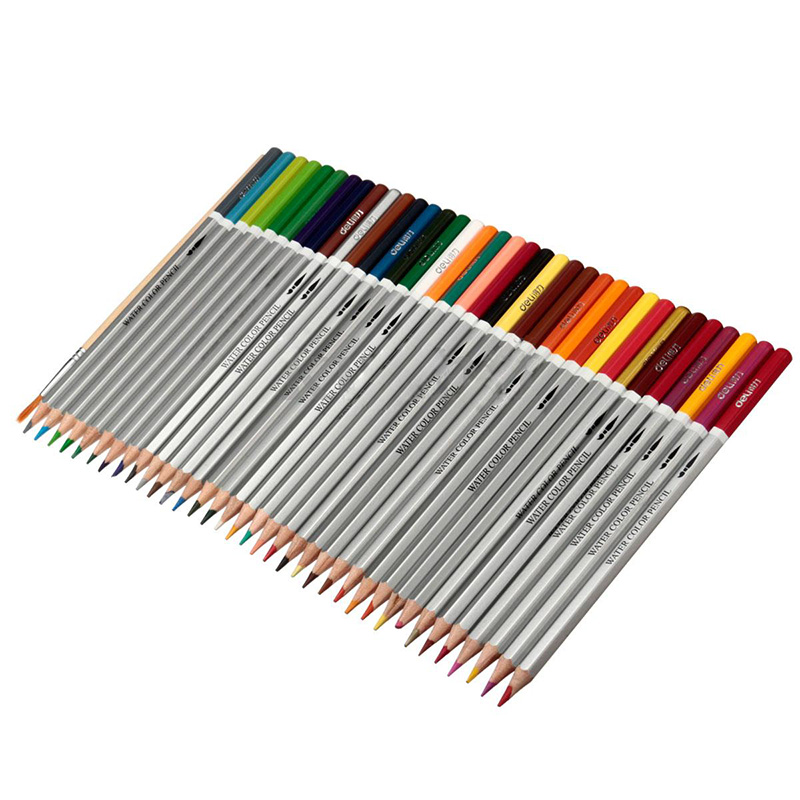 DELI Water soluble Crayons Colored pencils Wooden pencils Crayons +brushes, 36 Colors